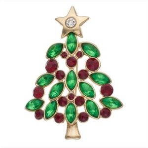 Jewelry - Gold Tone Red & Green Christmas Tree Pin